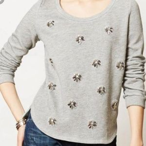 Anthropologie Lilka Embellishment Gray Top S